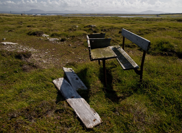 Old broken school desk with moors in the background