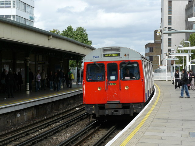 Underground Train Arrives at East Putney - geograph.org.uk - 1308704
