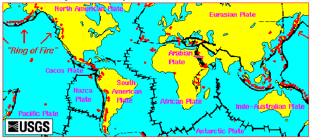 Kuvahaun tulos haulle map of volcanoes in the world