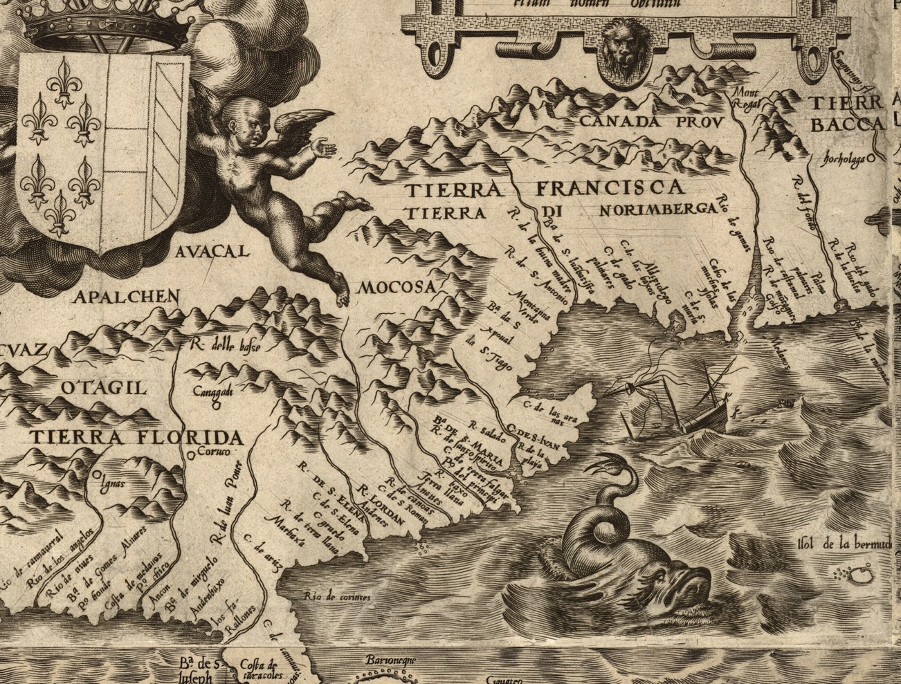 OS Early Map Of The East Coast Of North America - Early maps of america