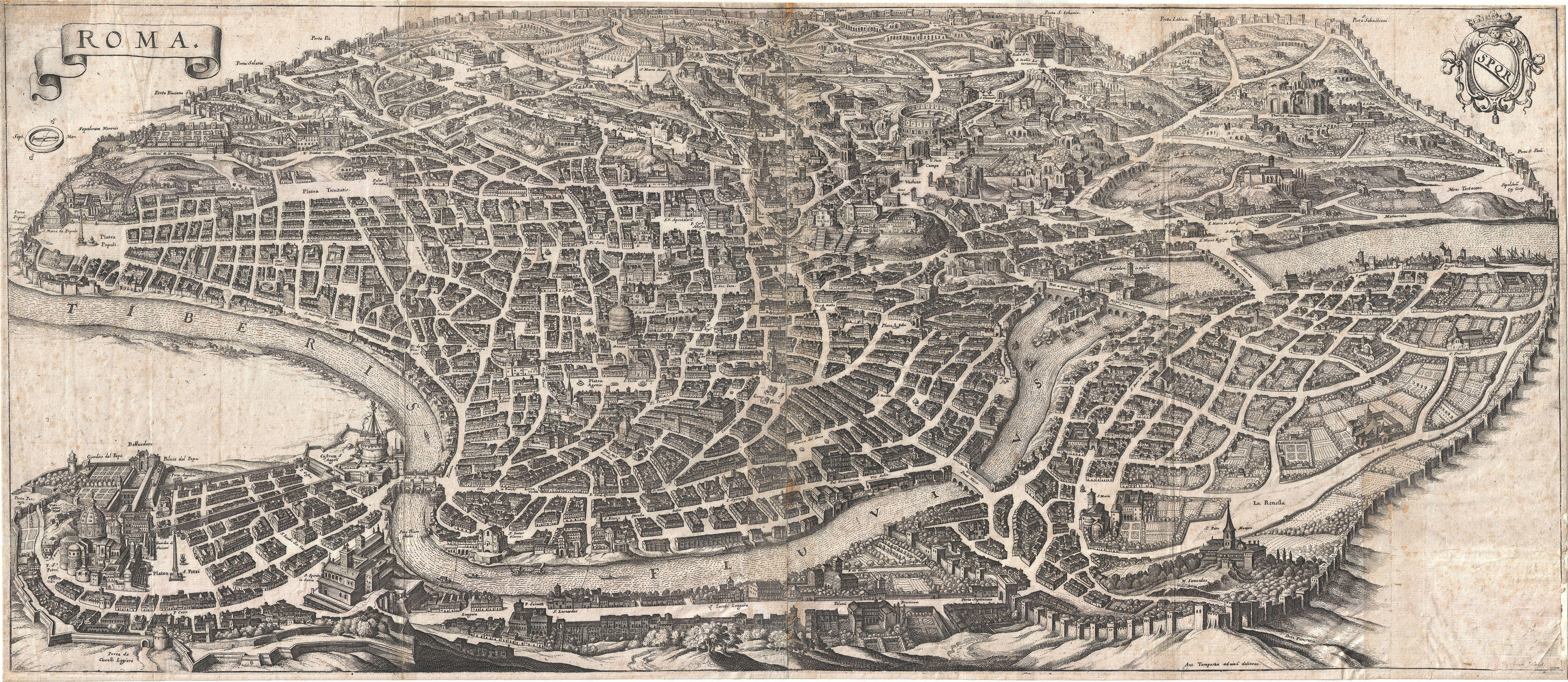 File:1652 Merian Panoramic View or Map of Rome, Italy - Geographicus ...