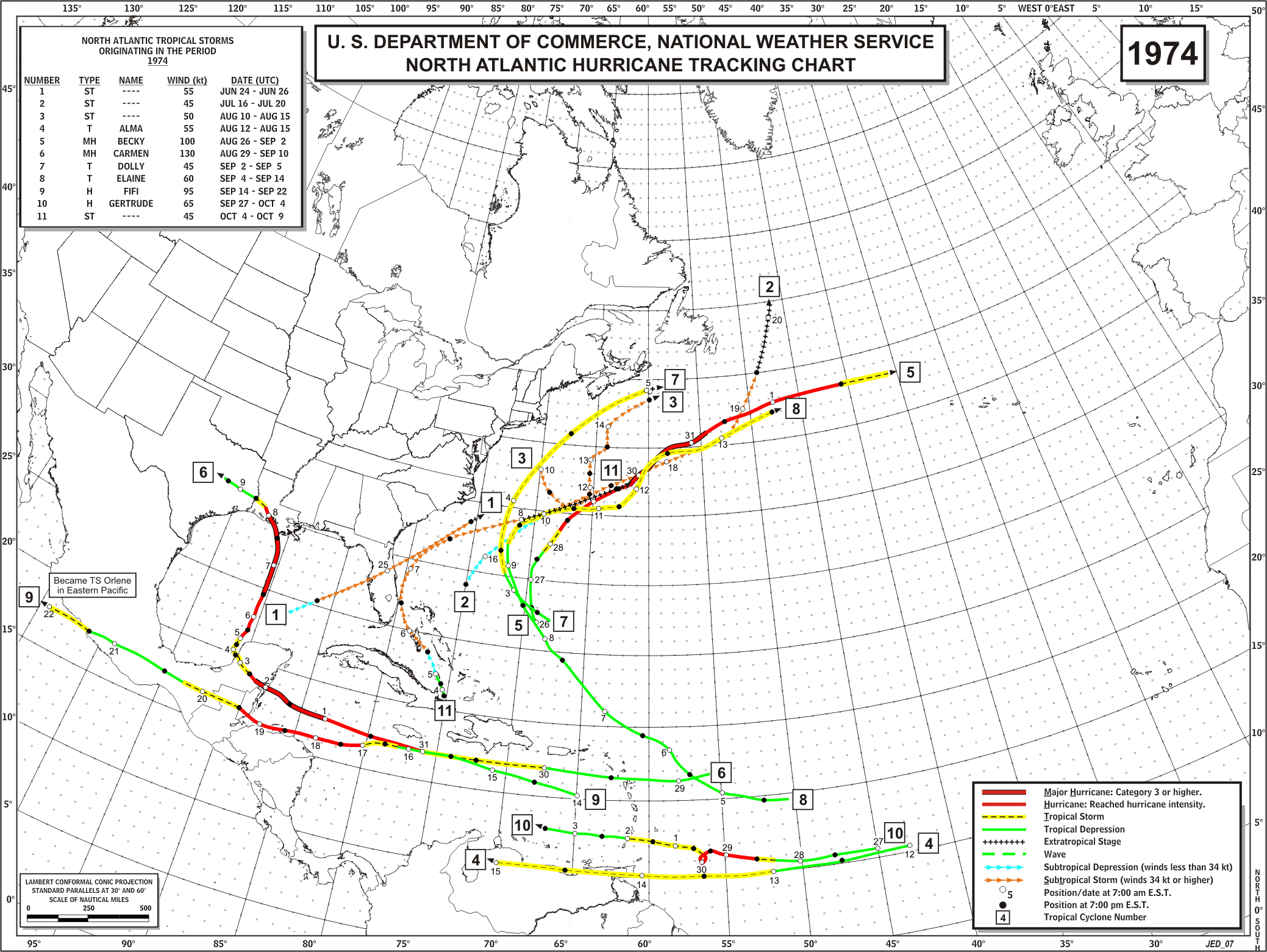 graphic about Printable Hurricane Tracking Map referred to as Timeline of the 1974 Atlantic hurricane time - Wikipedia