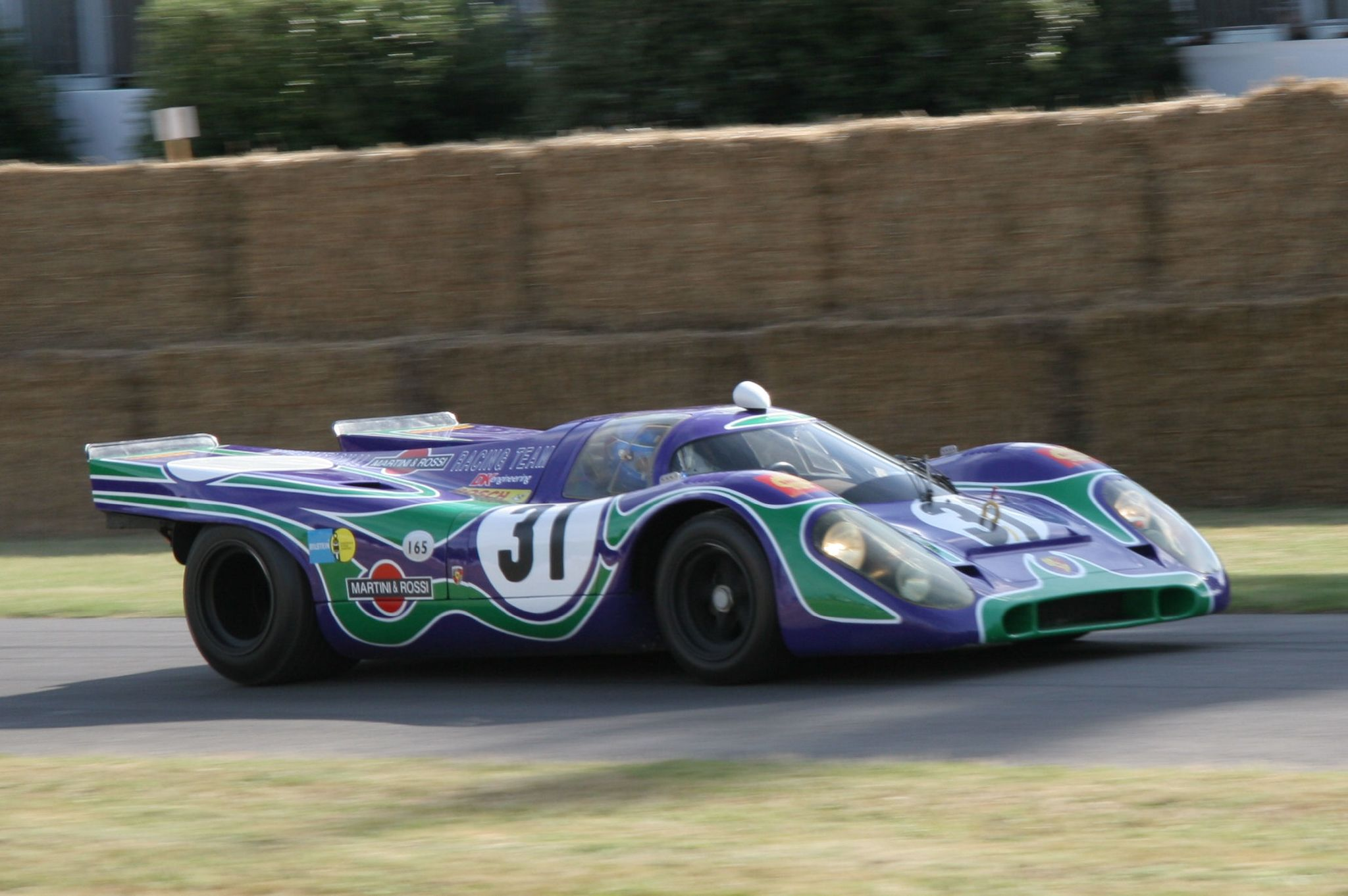 """The Martini Racing blue and green """"psychedelic"""" livery on a 1970 917K. This car raced at Watkins Glen in 1970."""