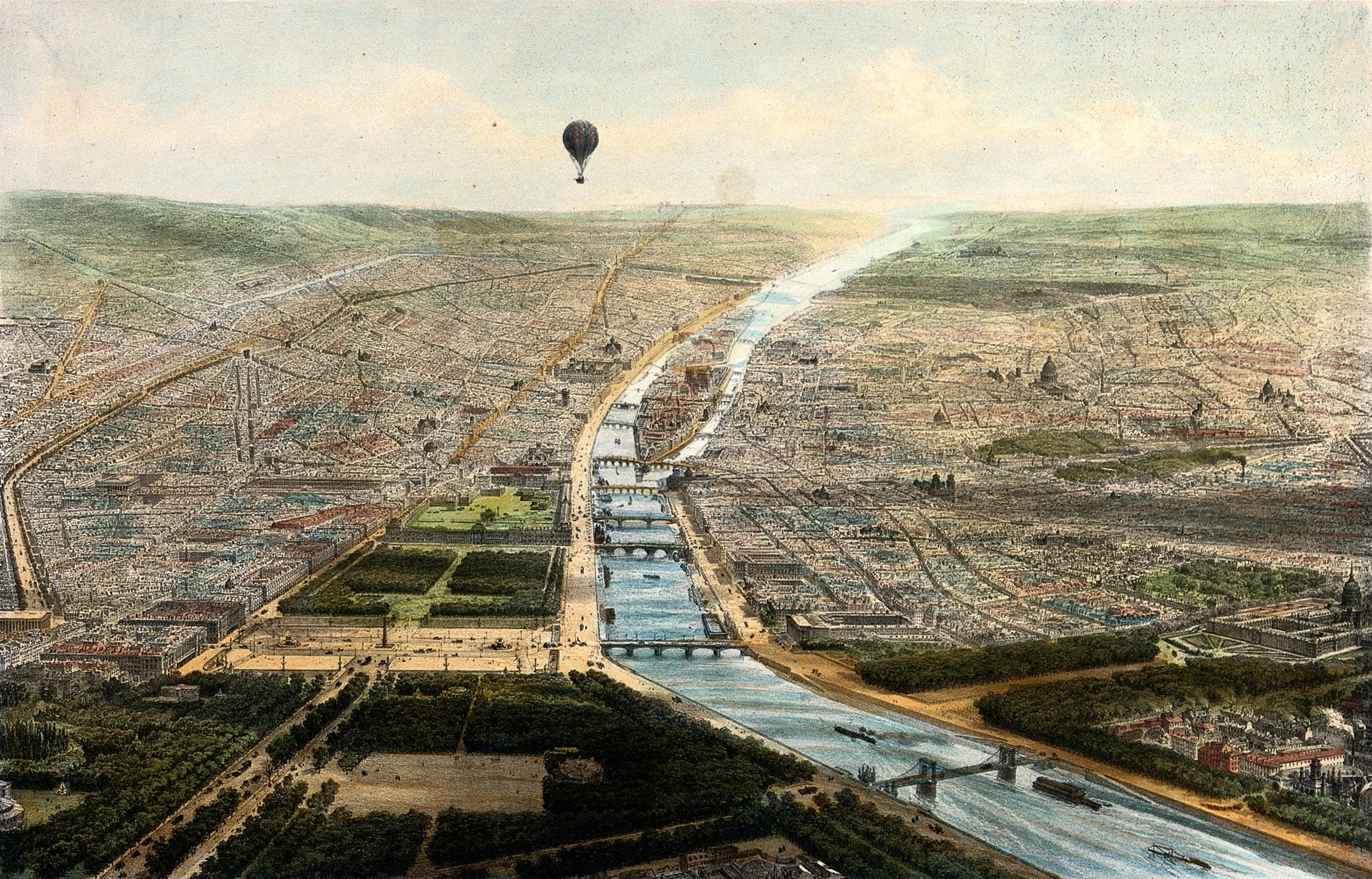 File:A hot-air balloon travels over part of Paris giving an aeria ...