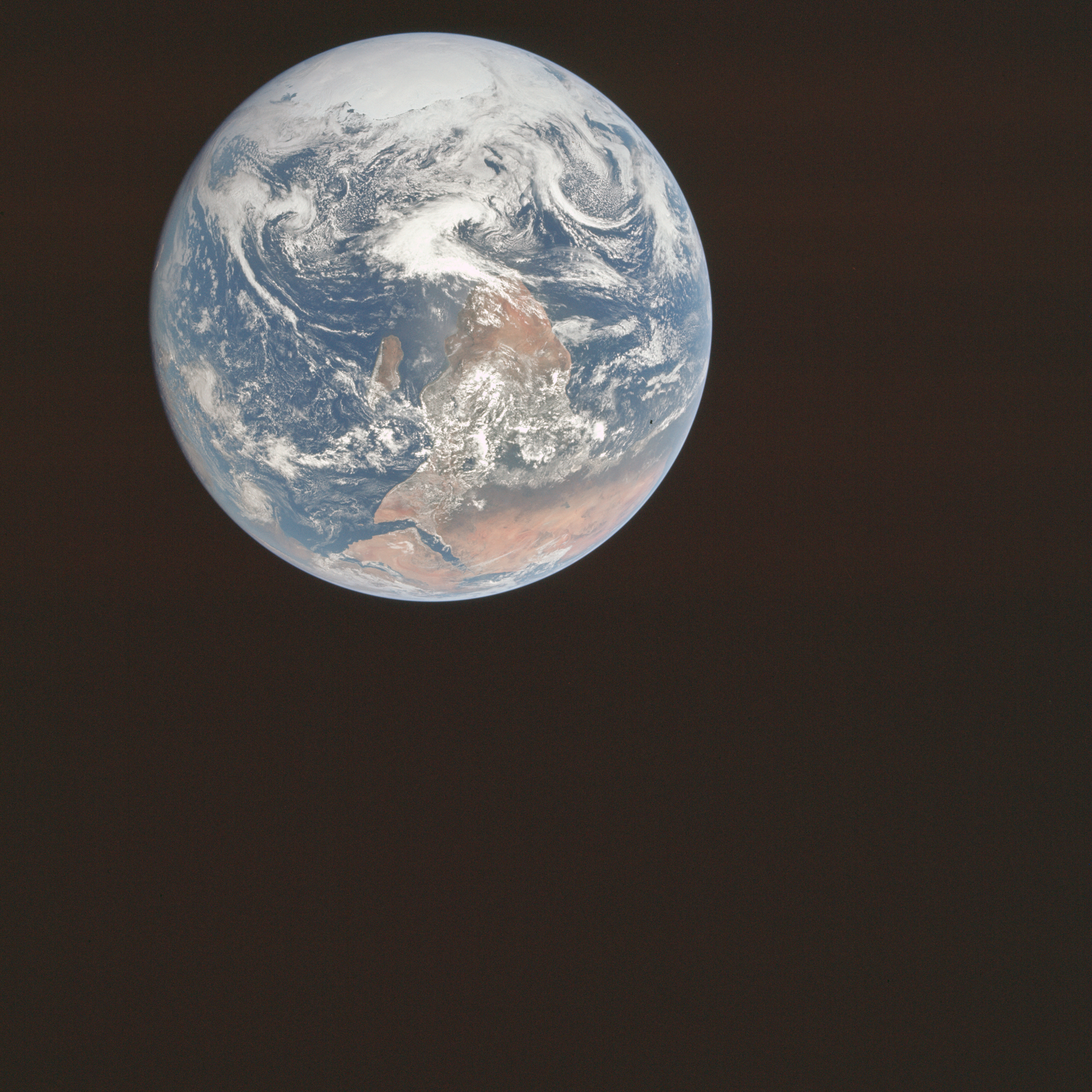 First photo of Earth from space which shows the south polar ice cap