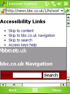 BBC News shown in 'desktop mode,' with accessibility links at the top. The screenshot is taken from Windows Mobile. BBC News web accessibility demo.jpg