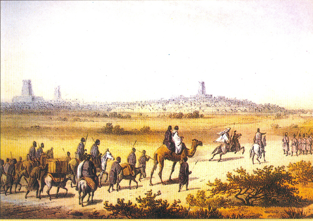 Caravan approaching Timbuktu in 1853 (from Travels and Discoveries in Northern and Central Africa by Prof. Dr. Heinrich Barth, vol. iv, London 1858)