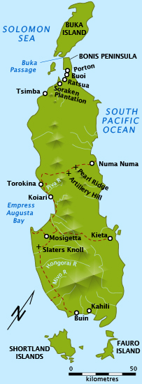 A map of Bougainville Island, indicating the location of several key battles in the campaign