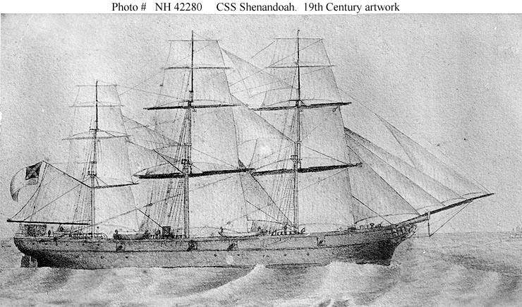 Nineteenth Century artwork, depicting Shenandoah under sail