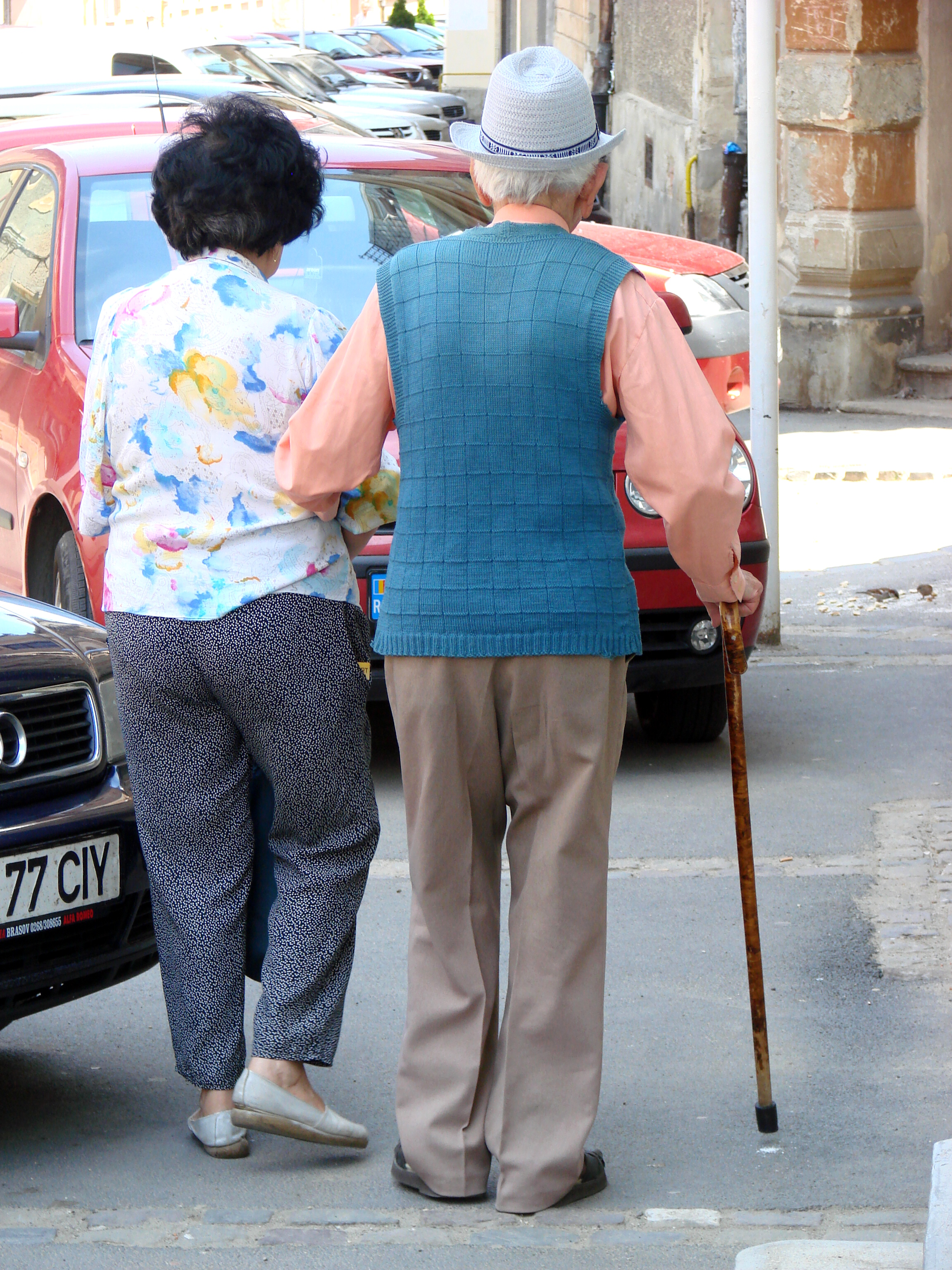 An elderly couple. In Romania.