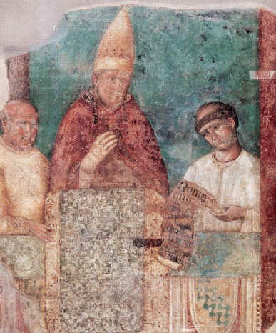 Pope Boniface VIII declaring the Jubilee Year, fresco by Giotto in the Basilica of St. John Lateran, Rome Giotto - Bonifatius VIII.jpg
