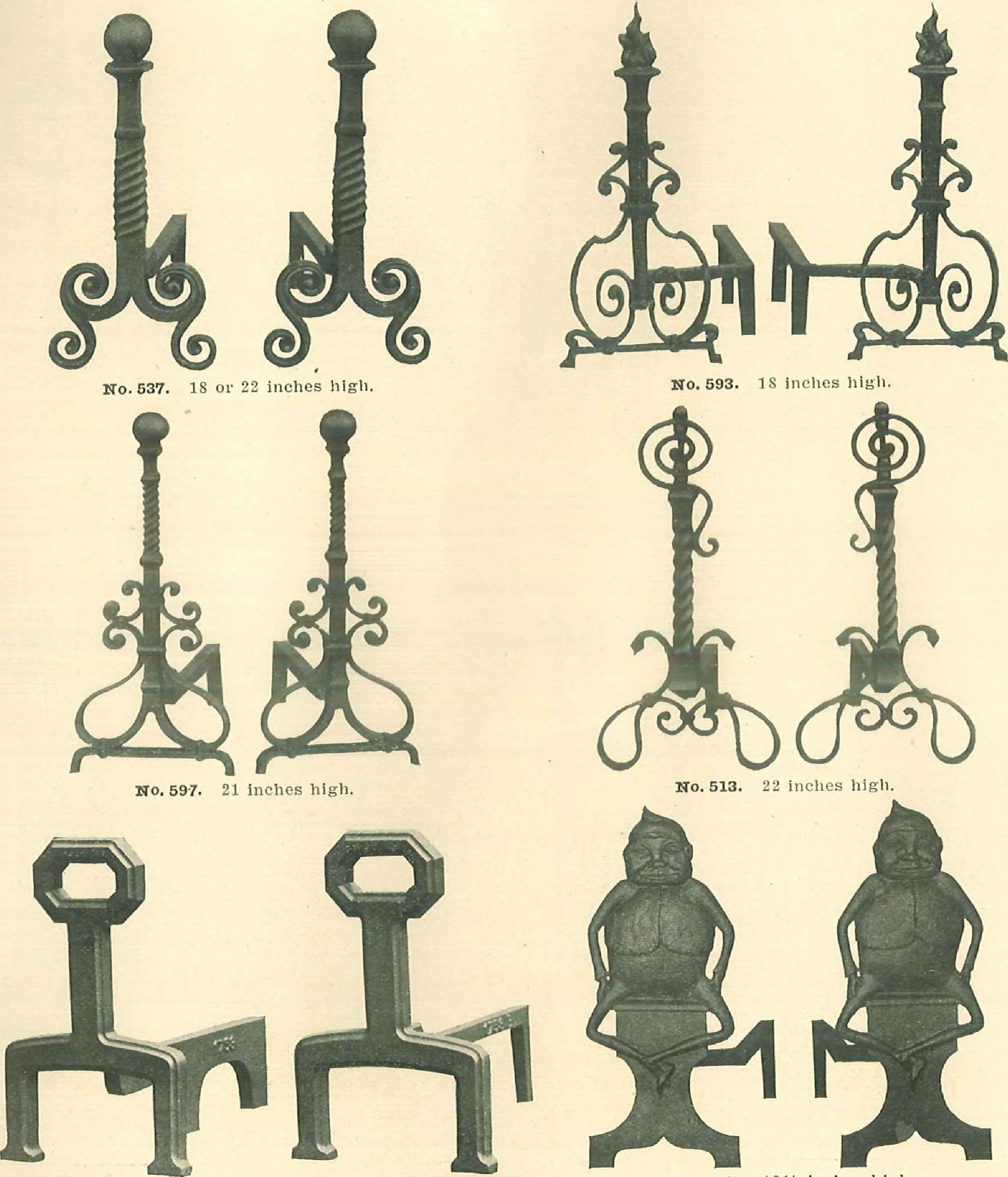 file grates and fireplace fixtures in iron and brass 1907