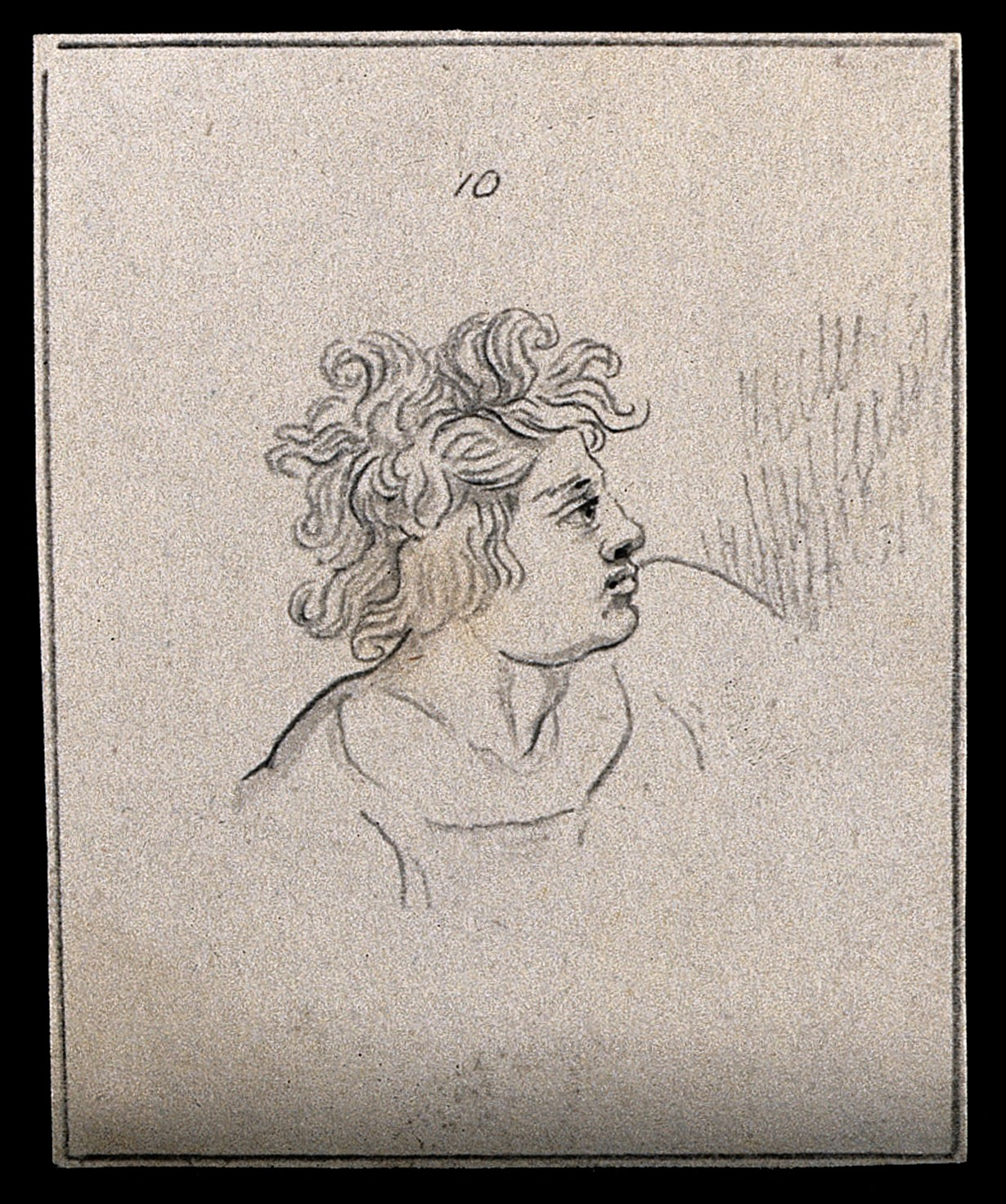 pencil drawing of a man with tousled hair
