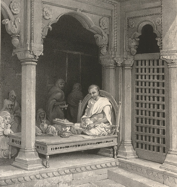 A Preacher Expounding The Poorans. In The Temple of Unn Poorna, Benares. Lithograph by Prinsep (1835)