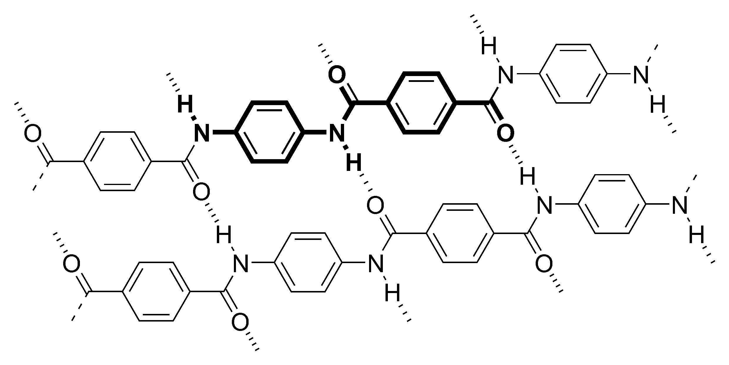 Enlaces químicos de Kevlar o poliparafenileno tereftalamida