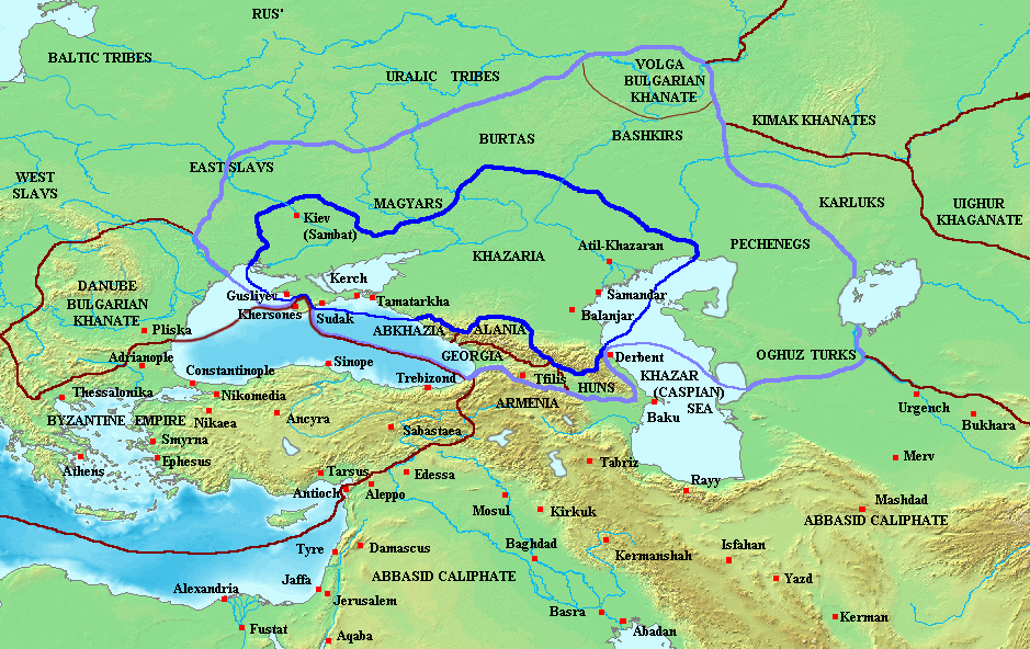 Khazar Khaganate and surrounding states, c. 820 (area of direct Khazar control in dark blue, sphere of influence in purple).