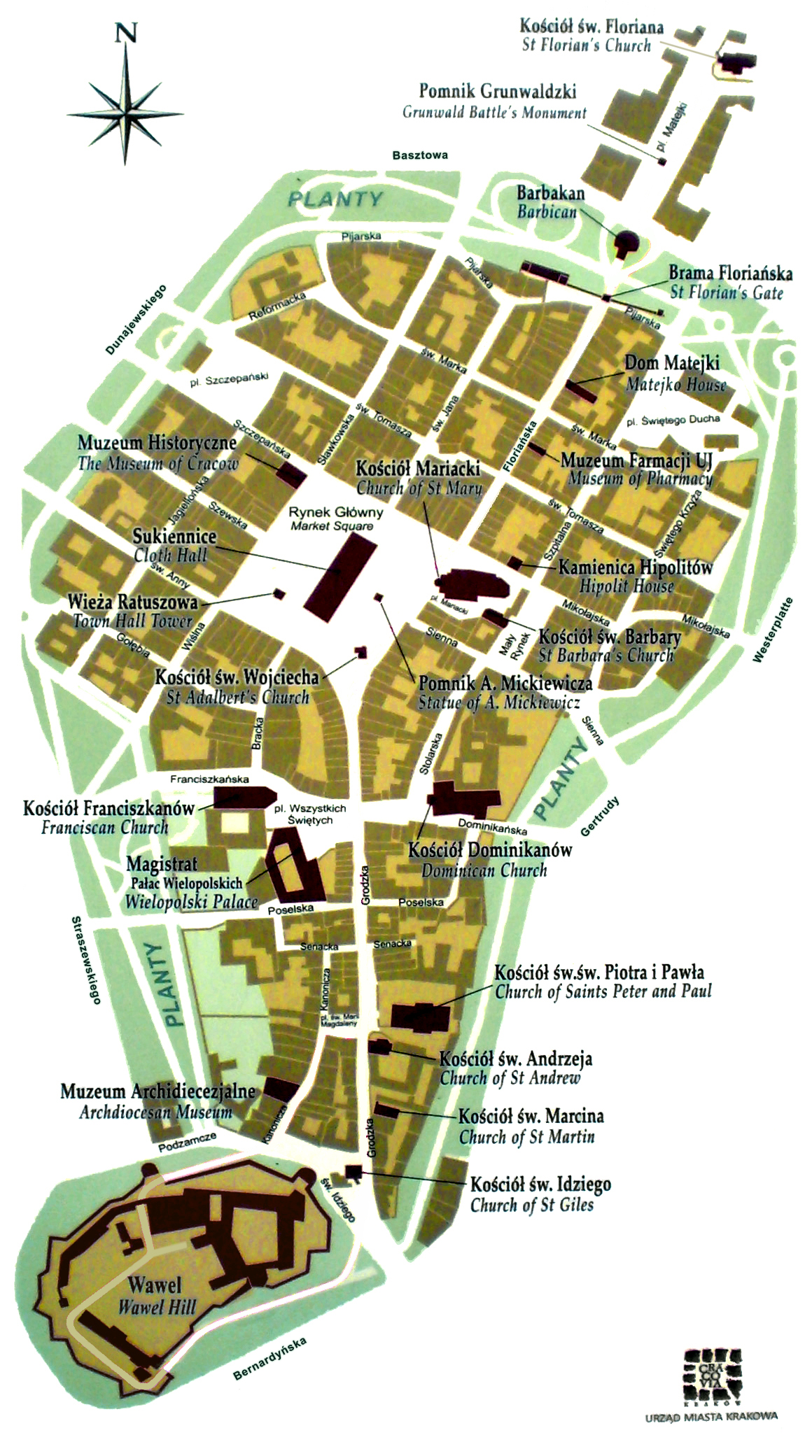Tourist Map Krakow Map of Kraków's Old Town