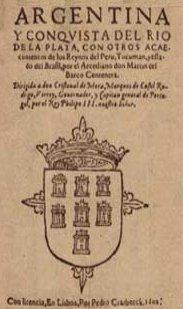 Portada de la primera edición del poema La Argentina de Martín del Barco Centenera, 1602