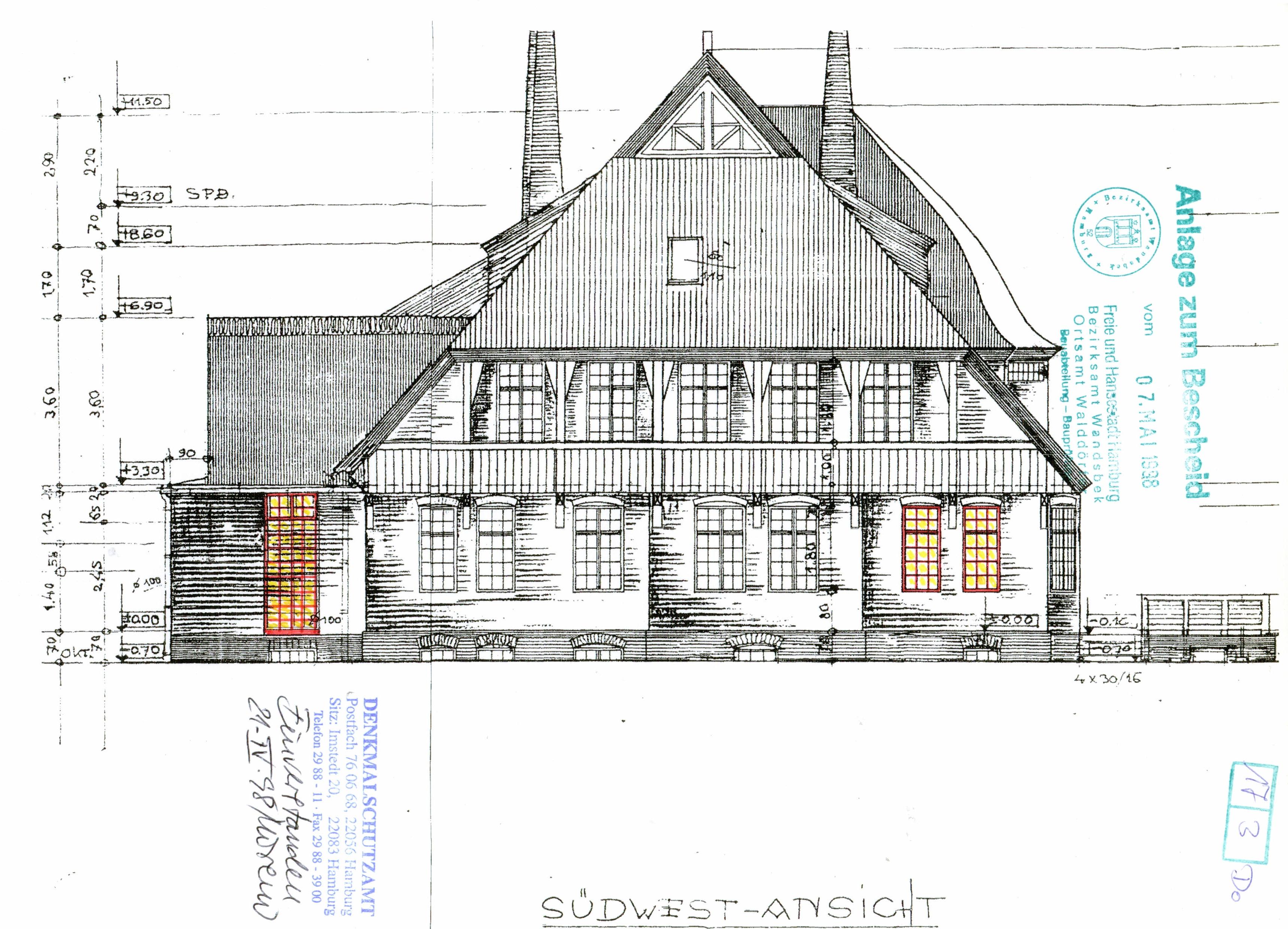 File Landhaus Mahr Schnitt Sudwest Ansicht 1998 Denkmalschutzamt Jpg