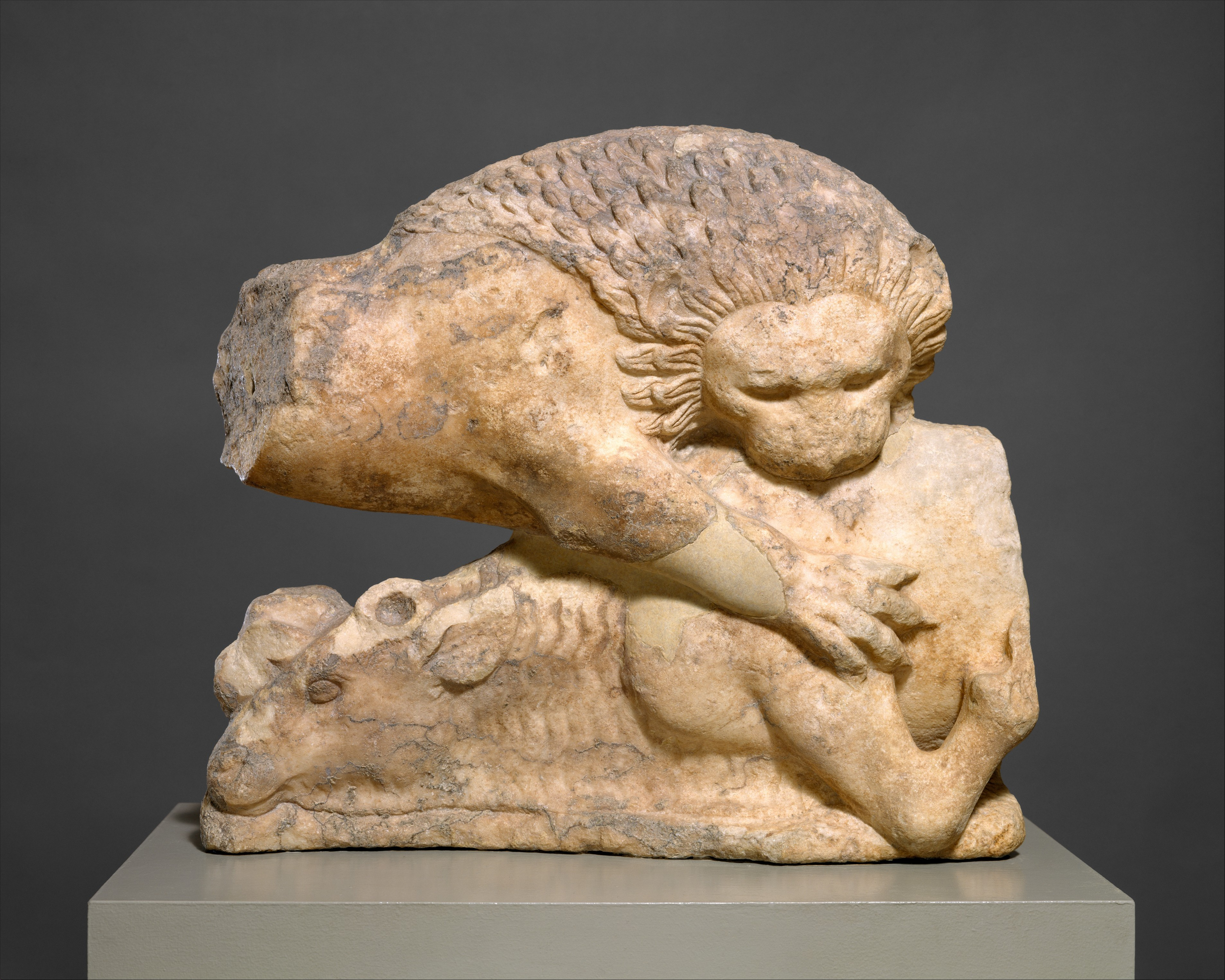 File Lion Felling A Bull From A Marble Pediment Met