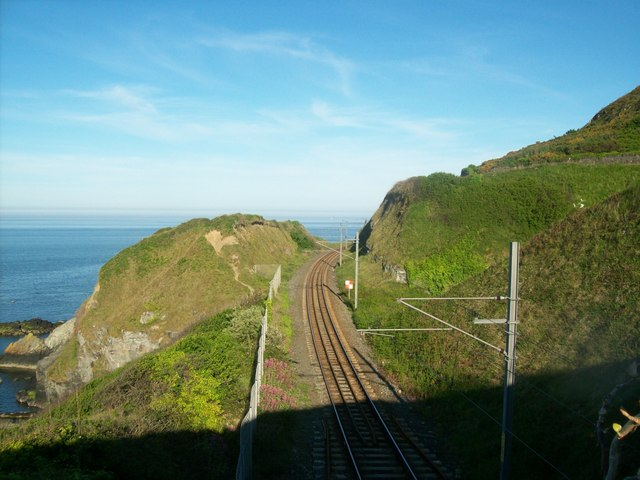 Looking along the railway at Bray Head - geograph.org.uk - 1323345
