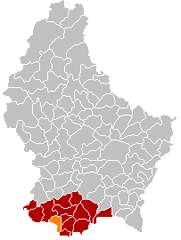 Map showing, in orange, the Esch-sur-Alzette commune