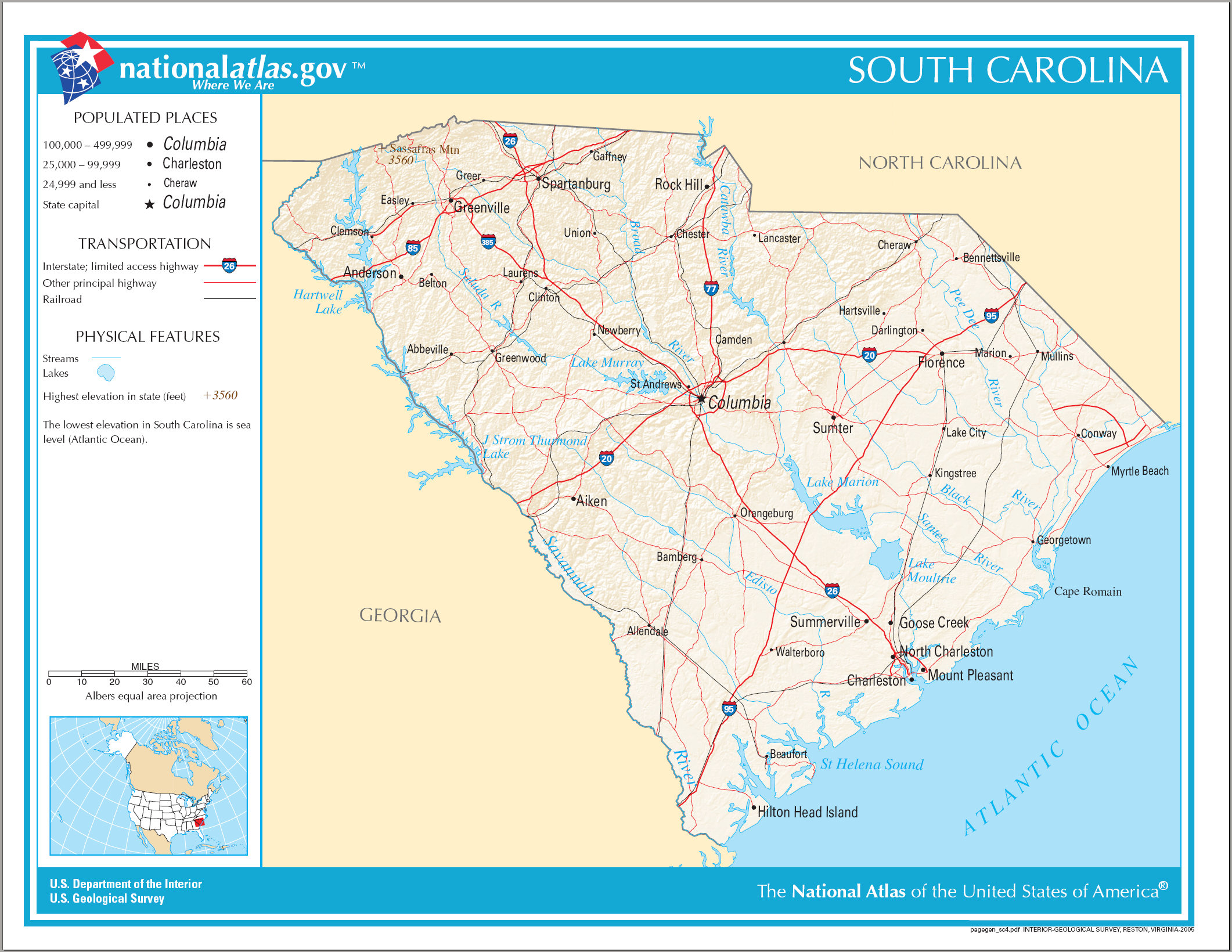 Physical Map Of South Carolina  Viewing Gallery