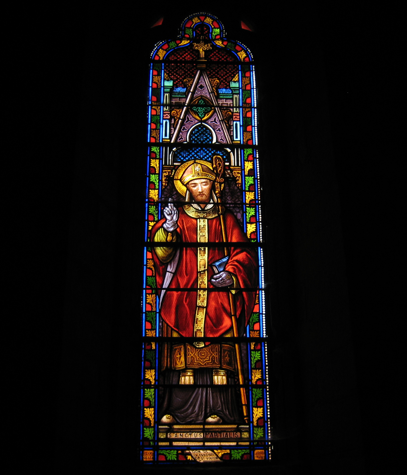 Glassmaleri av den hellige Martial i kirken i Salignac i departementet Dordogne