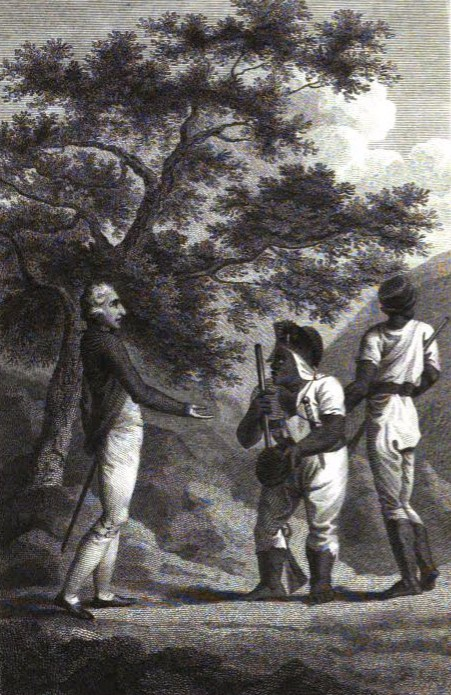 """""""Old Cudjoe making peace"""", engraving from ''The History of the Maroons'' (1803)"""
