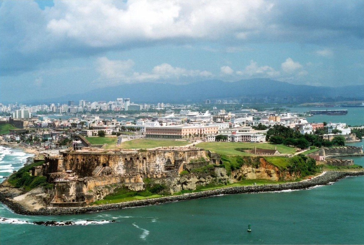 Aerial view of Fort San Felipe del Morro and Old San Juan