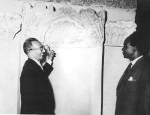 Nkrumah with Egyptian Egyptologist Pahor Labib at the Coptic Museum, 1956