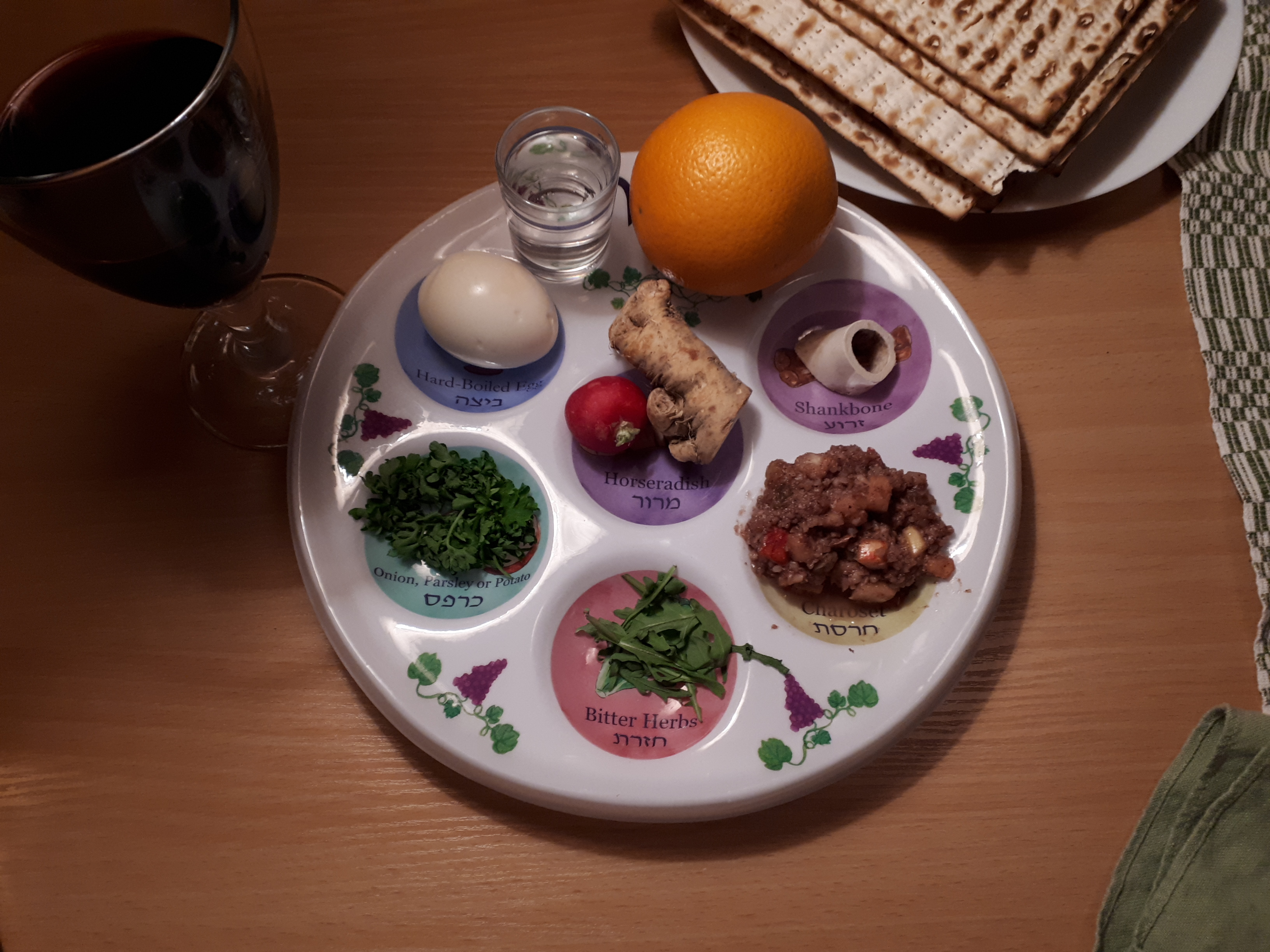 ID: a Seder plate with wine and matzah