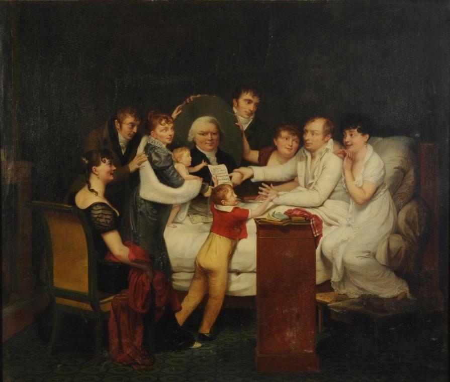 Pauline Auzou, ''Louis-Benoît Picard and his family'', 1807, shown at the 1808 [[Paris Salon