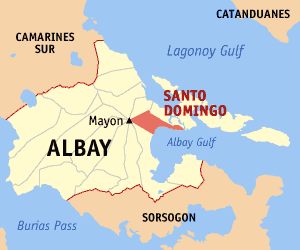 Map of Albay showing the location of Santo Domingo
