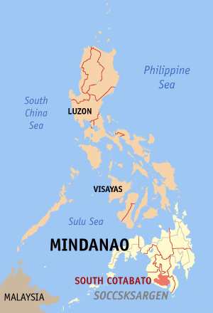 Мапа на Филипините со факти за Јужен Котабато highlighted