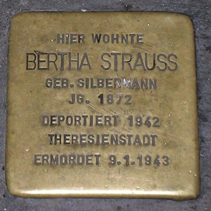 Stolpersteine in Karlstadt Bertha Strauss.JPG