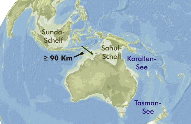 The map shows the probable extent of land and water at the time of the last glacial maximum and when the sea level was probably more than 150m lower than today; it illustrates the formidable sea obstacle that migrants would have faced. Sunda shelf.jpg