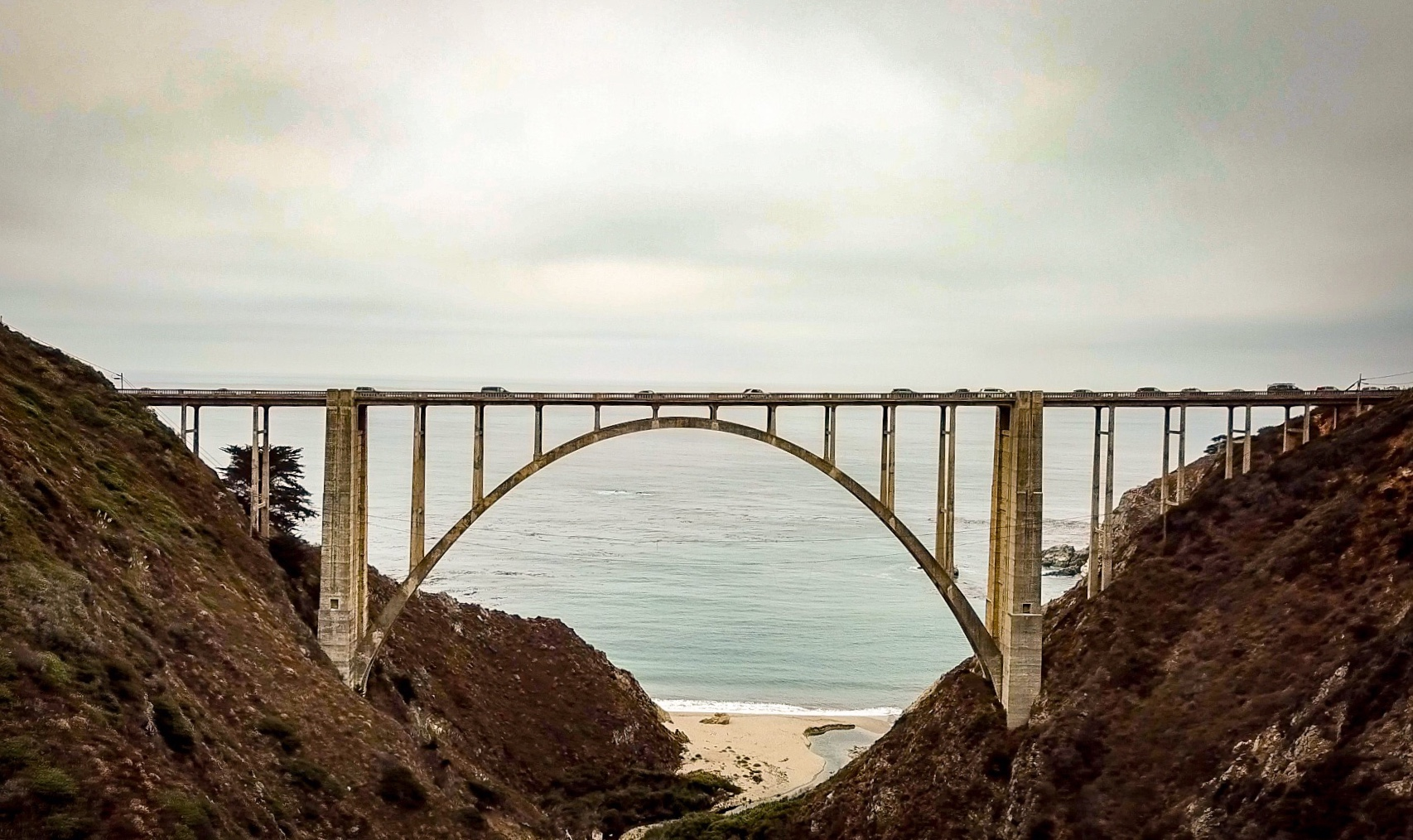 picture of Bixby Bridge on overcast day used for travel article
