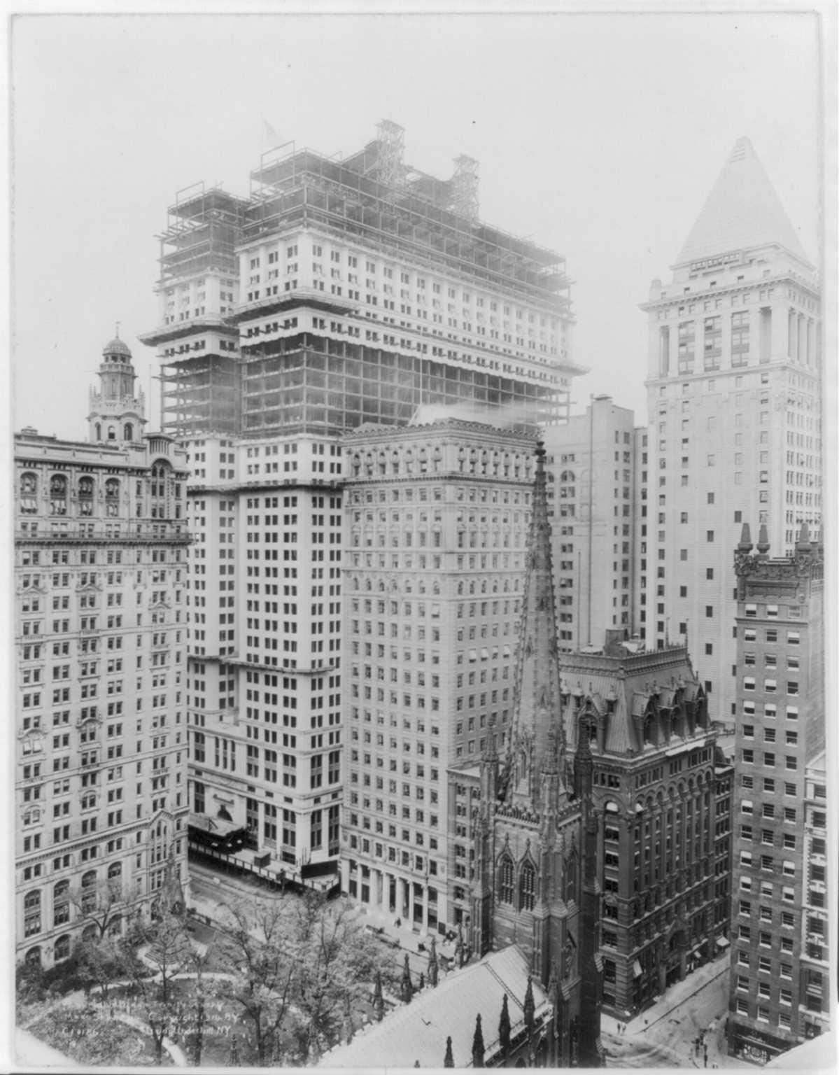 Trinity church lower manhattan wall street 1914 new york city