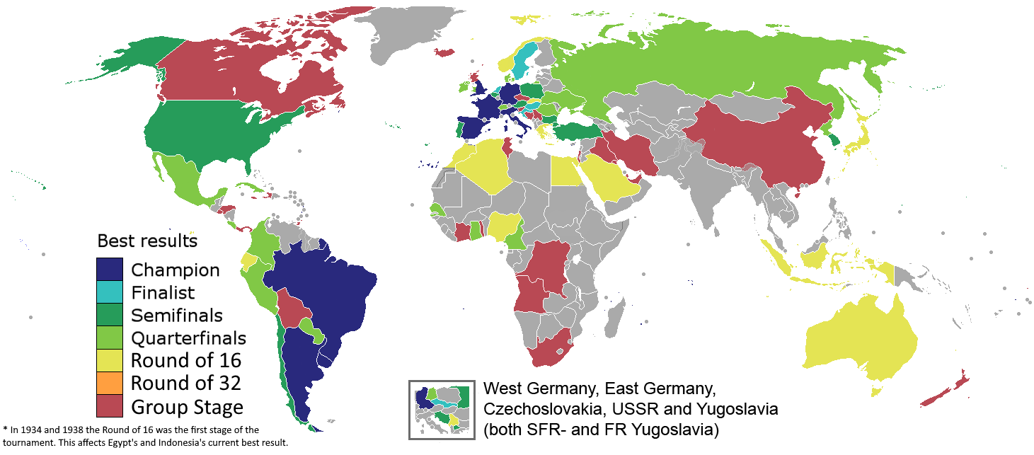 Map of countries' best results