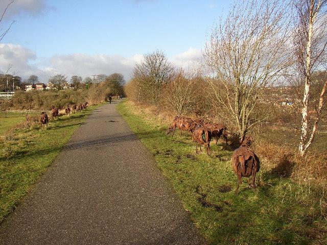 'Swaledale Flock' sculpture at Spen Valley Greenway, Liversedge - geograph.org.uk - 104750