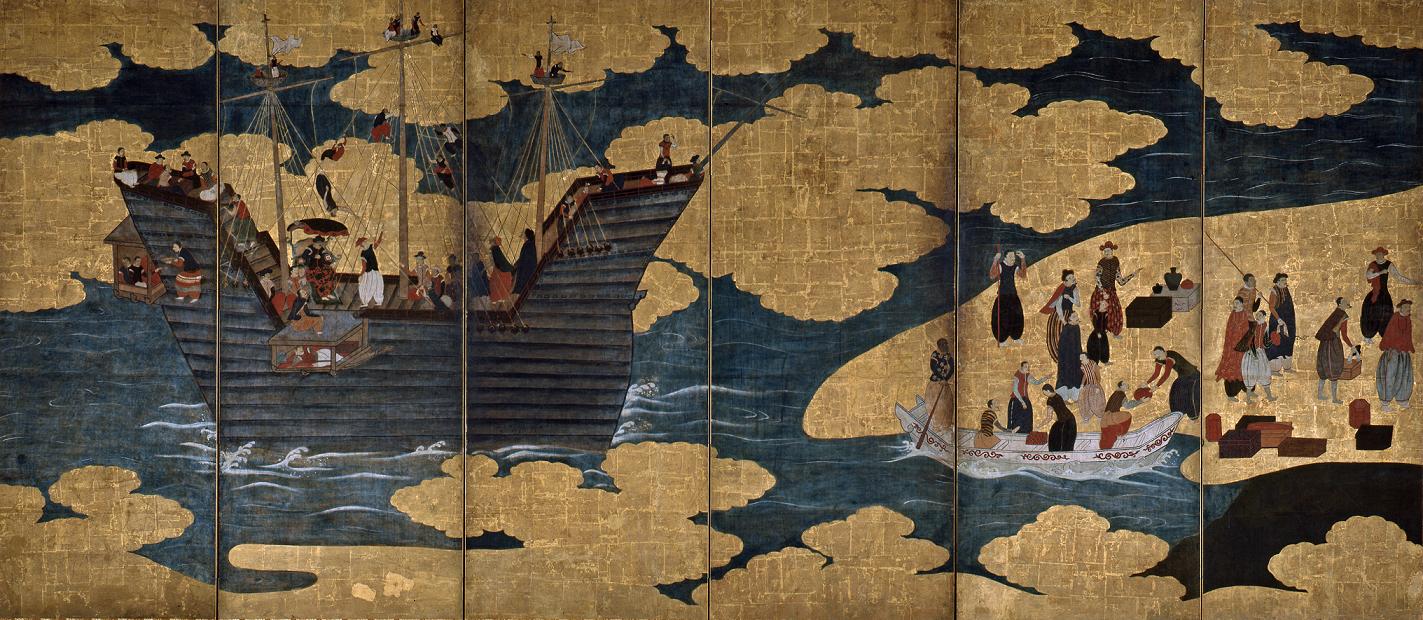 Untitled Namban byōbu, ca. 17th century, Azuchi-Momoyama period, Wikimedia Commons. Detail.