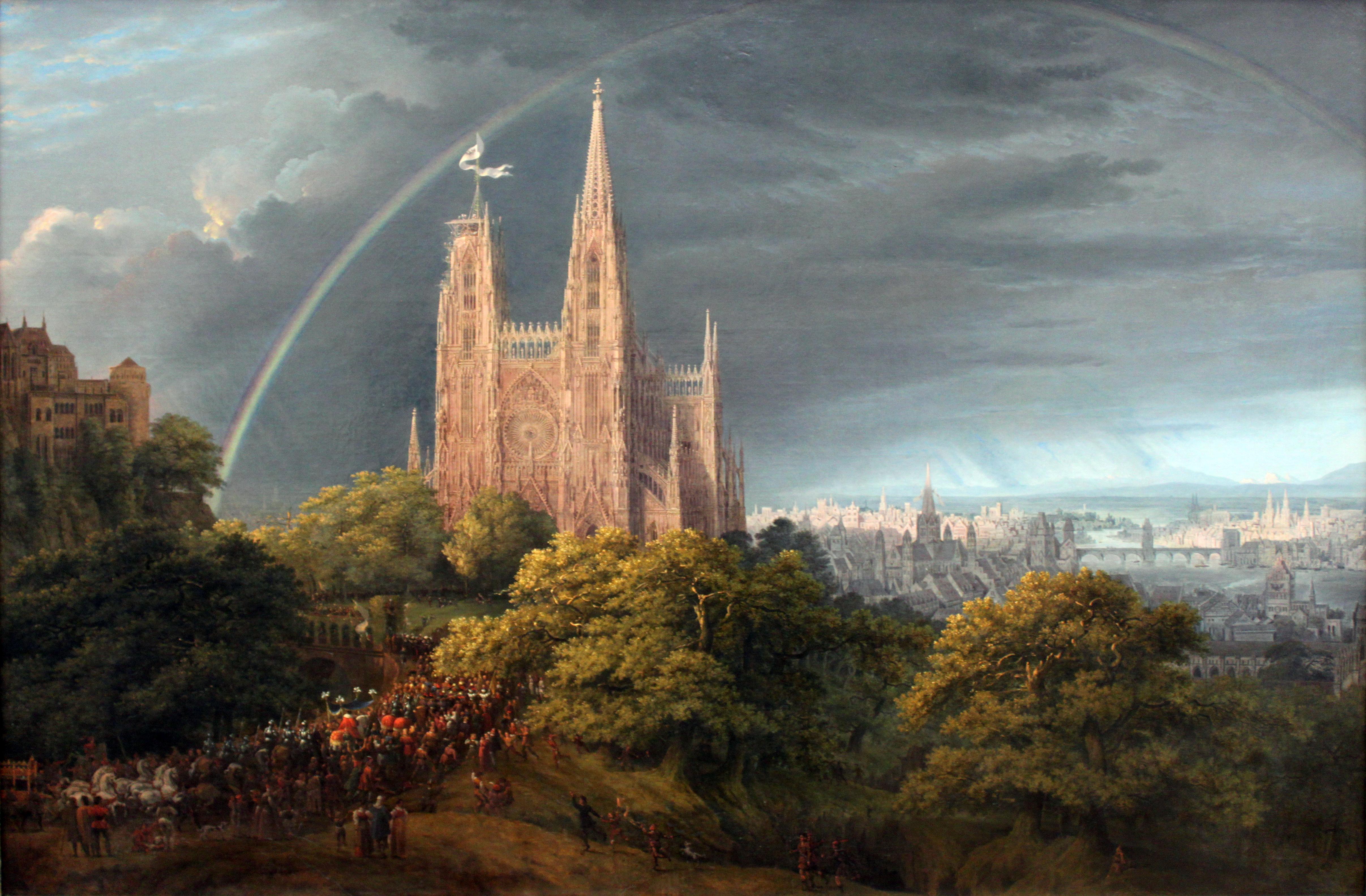 File:1815 Schinkel Mittelalterliche Stadt an einem Fluss ...