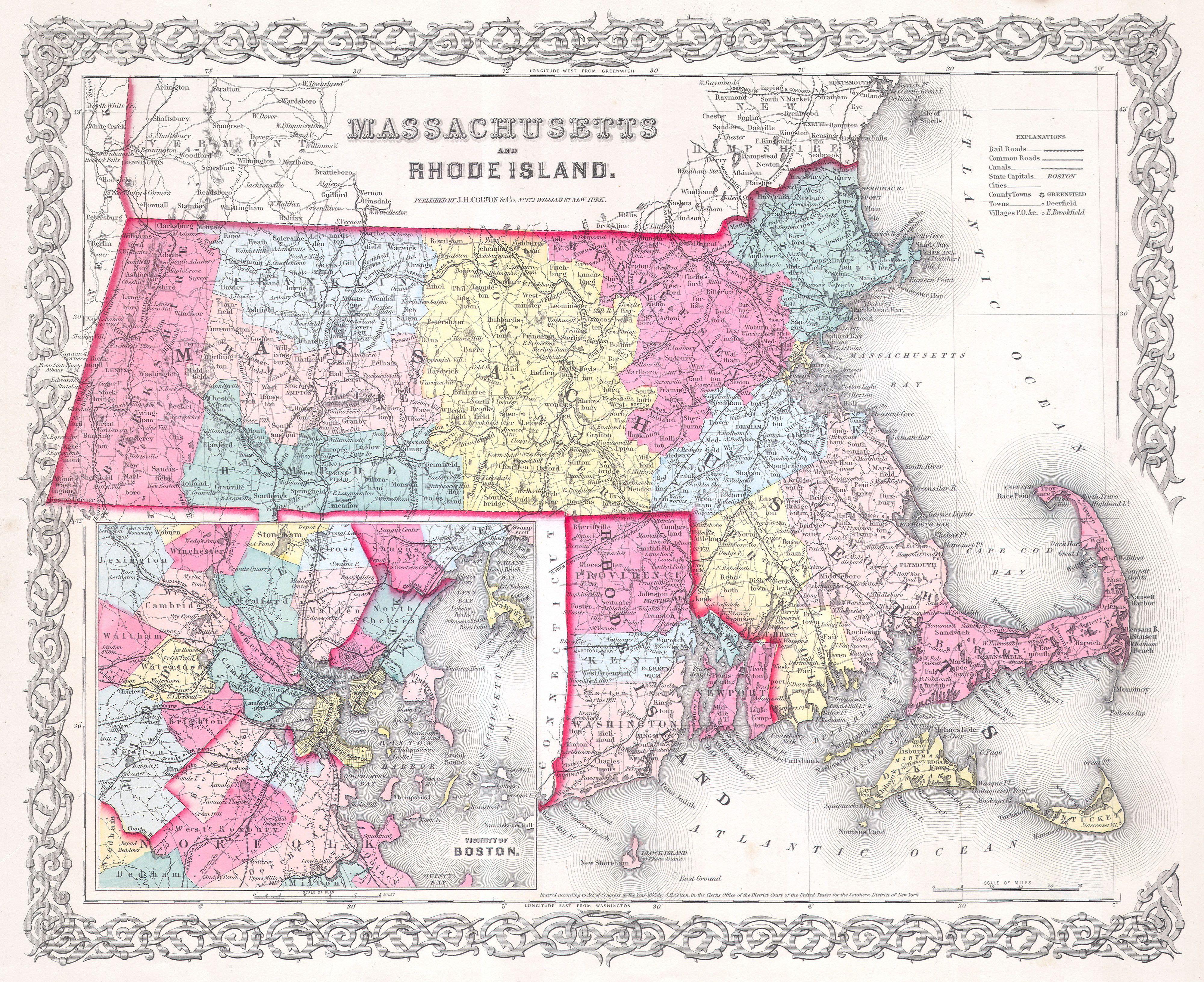 Map Of Massachusetts And Rhode Island File:1855 Colton Map of Massachusetts and Rhode Island