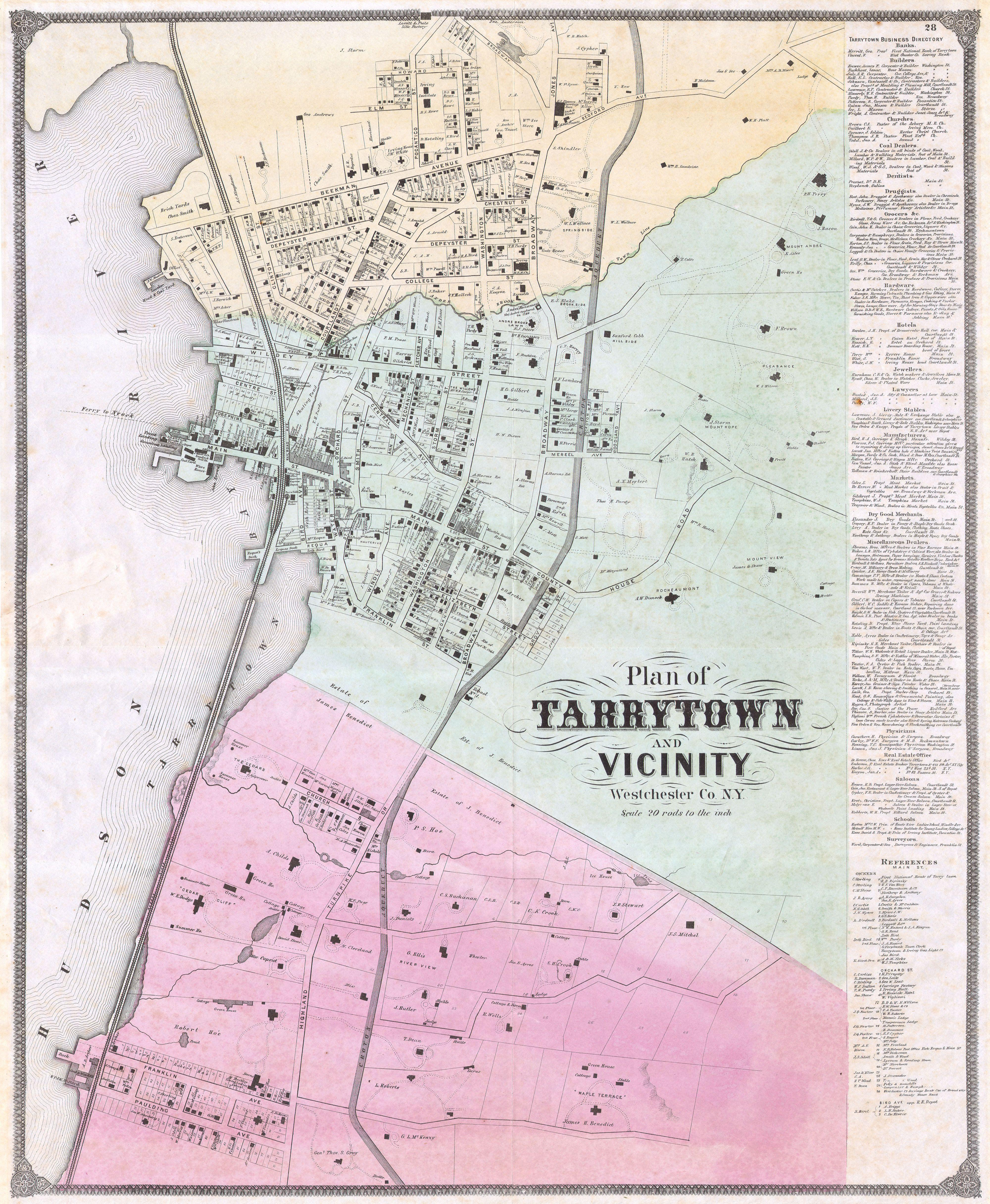 Sleepy Hollow Ny Map: File:1868 Beers Map Of Tarrytown ( Sleepy Hollow ), New