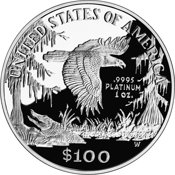 reverse side of the 1999 American Platinum Eagle proof coin