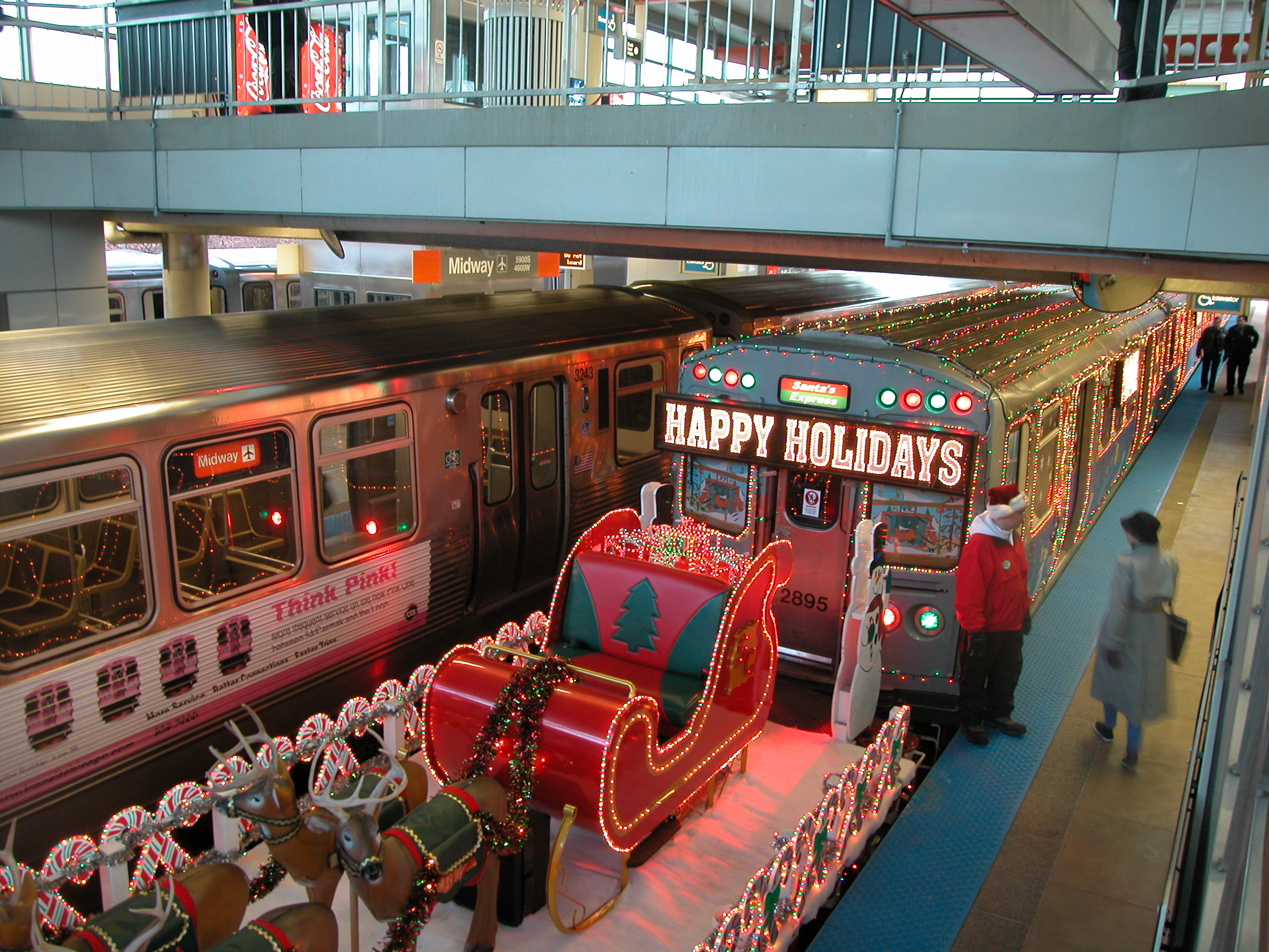 Image result for photos of the chicago holiday el with santa