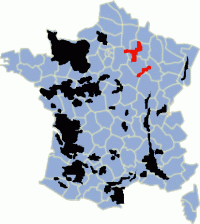 The Champagne appellation highlighted in red