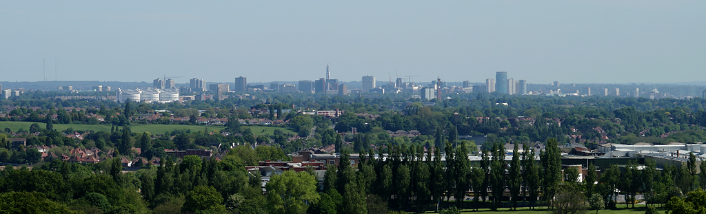 The city from the Lickey Hills, with Longbridge in the foreground Birmingham panorama from the Lickey Hills.jpg