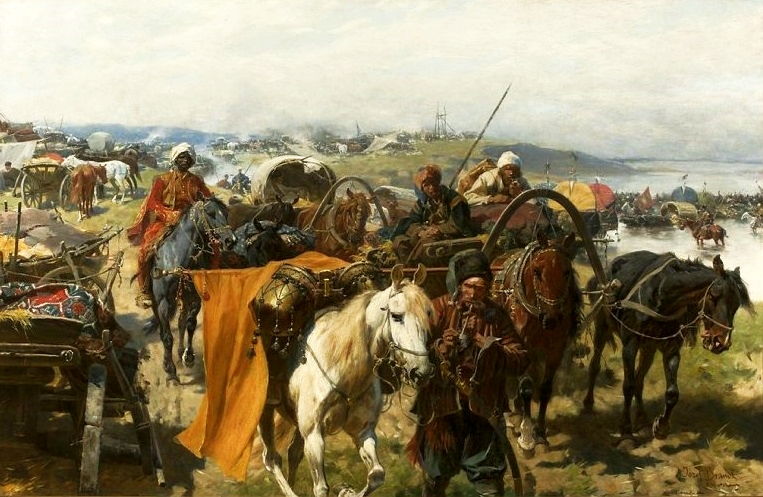 Camp of the Zaporizhian Cossacks, probably set in the late 16th or early 17th century. Józef Brandt (1841–1915).